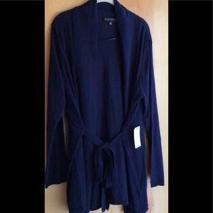 Eloquii dark blue shawl collar cardigan waist tie
